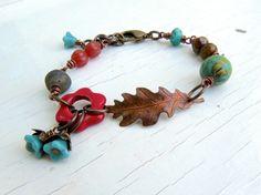 Sunset Boulevard handmade bracelet bead bracelet leaf by songbead, Leaf Jewelry, Boho Jewelry, Jewelry Art, Beaded Jewelry, Jewelry Bracelets, Jewelery, Bangles, Flower Bracelet, Antique Copper