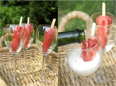 Adult Desserts:  Strawberry-Watermelon Popsicles & Champagne