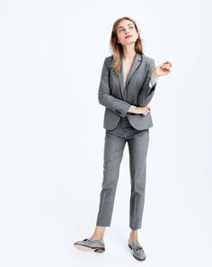 SEP '15 Style Guide: J.Crew women's Campbell blazer in stretch, Paley pant in stretch, Collection cashmere V-neck sweater and Biella tassel loafers.