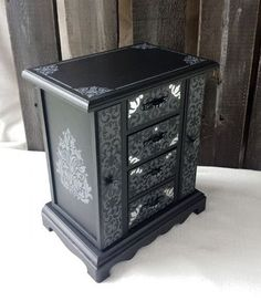 Black jewelry box vintage chic french country by CraftyMcDaniel