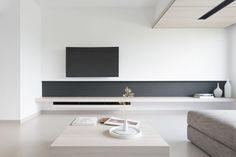 Nice shelving detail built into this minimalist living room