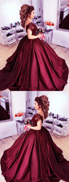 burgundy wedding dress satin ball gown lace cap sleeves