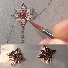 Sometimes a design evolves as I produce it and that is ok too! Often designs happens as I envisioned them, others take a bit of their own path...#ilovedesigningjewelry #design is #life #18krosegold #ruby #earrings #jewelryartist #remyrotenier
