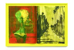 Shinro Ohtake Yellow Sight 1 _2015  Screen print on Stonehenge paper, bounded with linen in yellow frame 116 x 167 x 9.5 cm