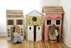 Card board houses...thinkin we need to get some boxes from Papa Bryan this summer