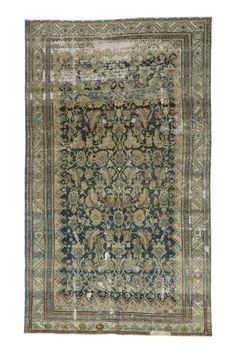 Distressed Antique Persian Malayer Rug with Modern Industrial Style | From a unique collection of antique and modern persian rugs at https://www.1stdibs.com/furniture/rugs-carpets/persian-rugs/