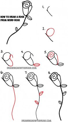 Learn how to draw roses with the word rose drawing tutorial for kids