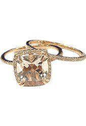 Cushion Morganite Engagement Ring Set Pave Diamond Wedding 14K Rose Gold 8x8mm Claw Prongs