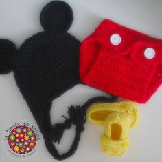 Crochet baby set mickey mouse hat shoes and diaper