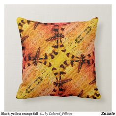 Black, yellow orange fall dragonfly solid back Orange Pillows, Custom Pillows, Your Design, Throw Pillows, Make It Yourself, Knitting, Yellow, Fall, Fabric