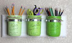 Green mason jars distressed wall hanger. #heritagecollection