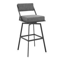 Shiffer Swivel Bar & Counter Stool Bar Counter, Counter Stools, Bar Stools, Geometric Form, Steel Bar, Back Seat, Framing Materials, Foot Rest, Fabric Patterns