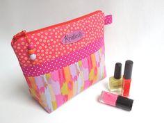 Waterproof personalized makeup bag / Patchwork cosmetic zipper