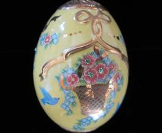 Collectible FABERGE EGG Yellow Porcelain with by SaltwaterVillage