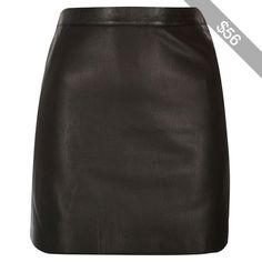 River Island Black leather look mini skirt