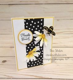 Daisy Card with Bee Wobble Homemade Greeting Cards, Greeting Cards Handmade, Homemade Cards, Butterfly Cards, Flower Cards, Stampin Up, Honey Bee Stamps, Bee Cards, Stamping Up Cards