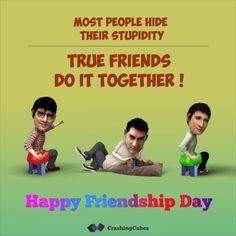 Bollywood Friendship Day Animation, 3 Idiots Aamir Khan, R Madhavan and Sharman Joshi Caricature Cartoon Bobbleheads