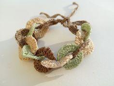 Crochet Bracelet Pattern Soft Green Brown Cream by DesignByIrenne