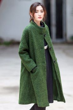 Green Wool Loose Single Breasted Winter Coat Women Clothes W1901A Green Wool Coat, Green Winter Coat, Winter Coats Women, Coats For Women, Clothes For Women, Fashion Clothes, Fashion Dresses, Winter Typ, Single Breasted