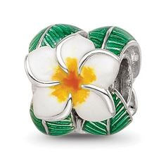 Sterling Silver Reflections Enamel Flower and Leaves Round Bead / STYLE: QRS4251 Round Beads, Primary Colors, Thailand, Cufflinks, Enamel, Sterling Silver, Type, Flowers, Accessories