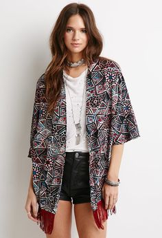 Abstract Diamond Fringe Kimono