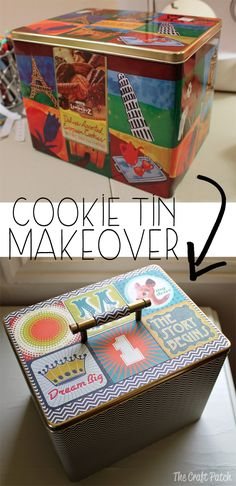 Turn an old cookie tin into a cute storae container. Adding the handle... brilliant!
