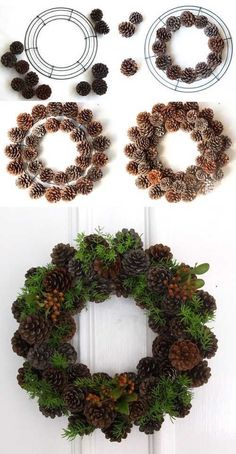 Easy & long lasting DIY pinecone wreath: beautiful as Thanksgiving & Christmas decorations & centerpieces. Great pine cone crafts for fall & winter! - A Piece of Rainbow Christmas Garden, Christmas Crafts, Christmas Ornaments, Christmas Ideas, Diy Christmas Home Decor, Cheap Christmas, Christmas Quotes, Christmas Carol, Xmas