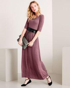 Elbow-Sleeve Scoop-Neck Maxi Dress