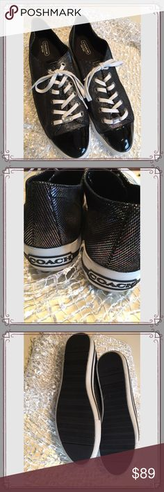 Coach Ian Iridescent Black Leather Sneaker Coach Ian Iridescent Black Leather Platform Sneaker. Worn once. See photos for true item detail. Coach Shoes Sneakers