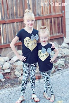 Je T'aime DIY Graphic Tee made with Cricut Explore -- The Crafting Chicks. #DesignSpaceStar Round 2