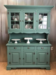 Vintage Sears China Hutch painted in fresh vintage green by Panther Creek Studio. - Vintage Sears China Hutch painted in fresh vintage green by Panther Creek Studio - Refurbished Furniture, Find Furniture, Repurposed Furniture, Furniture Projects, Kitchen Furniture, Furniture Makeover, Kitchen Decor, Painted China Cabinets, Painted Hutch