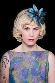 Party/Bridal Headband with Vintage Teal Millinery Flowers