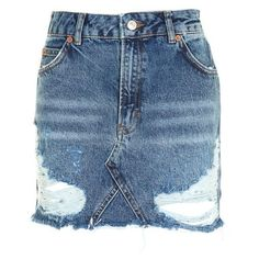 Topshop Moto Rip Denim Mini Skirt (4920 ALL) ❤ liked on Polyvore featuring skirts, mini skirts, distressed denim skirt, topshop skirts, short denim skirts, ripped denim mini skirt and short blue skirt
