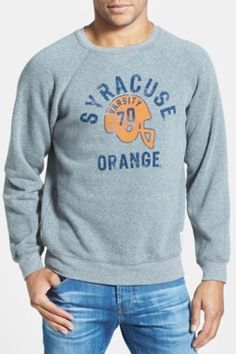 'Syracuse Orange Football' Slim Fit Raglan Crewneck Sweatshirt