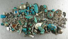 202 grams Spectacular 54 Charms Pawn Navajo Zuni Turquoise Charm Bracelet   eBay