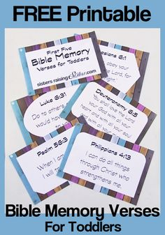 Top 5 Bible Verses to Teach Your Toddler (and how to do it). Including FREE Printable Bible Memory V Bible Verses For Kids, Bible Study For Kids, Verses For Cards, Kids Bible, Kids Memory Verses, Preschool Bible Verses, Toddler Bible Lessons, Children's Bible, Religion