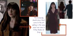 Fifty Shades Darker: Ana's burgundy maroon sheath dress with exposed zipper #fsd #fiftyshadesdarker #50shades