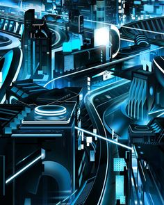 Tron: Uprising Concepts and Background Paintings by Darren Bacon