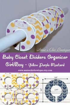 Yellow Purple Closet Divider, Baby Closet Dividers, Girl Boy Closet Organizer, baby shower gift, clothes divider, Mustard Nursery decor C240 Nursery Closet Organization, Baby Closet Dividers, Dresser Organization, Baby Shower Gifts, Baby Gifts, Boys Closet, Thing 1, Baby Milestones, Baby Month By Month