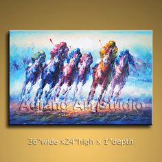 Large Hand Painted Oil Painting Horse Racing Impressionist Art Contemporary r014 $119.00  . Discover more paintings available at eBay store http://stores.ebay.com/Aqiangs-Art-Studio