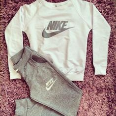 #pants #shirt #nike #gray Stylish women's gray and milky sweatsuit