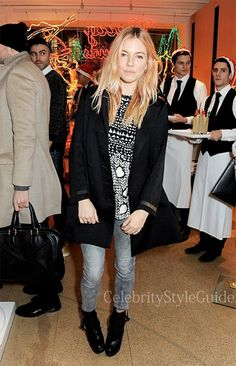Seen on Celebrity Style Guide: Sienna Miller wore this cute silk heart print top while attending the Stella McCartney Christmas Lights Switch On at the Stella McCartney Bruton Street Store on Wednesday (December 4) in London, England.