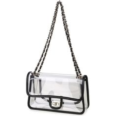 46c89816b0 Lam Gallery Womens Clear Purse Handbags NFL Stadium Approved Clear Bags for  Football Games Turn Lock Chain Shoulder Crossbody Bags Transparent PVC  Vinyl ...