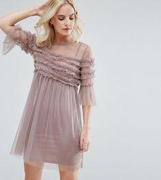 Miss Selfridge Petite Ruffle Mesh Pleated Overlay Dress - Pink