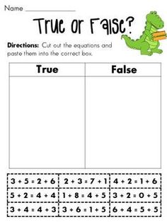 Balancing Equations True or False Cut & Paste -- stating true or false for balanced equations is a 1st grade common core standard!