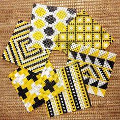 Hama perler bead tiles/coasters by minsuhem Hama Beads Coasters, Diy Perler Beads, Perler Bead Art, Pearler Beads, Fuse Bead Patterns, Perler Patterns, Beading Patterns, Pixel Beads, Fuse Beads