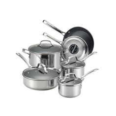 Circulon Genesis 10-pc. Nonstick Stainless Steel Cookware Set, Grey