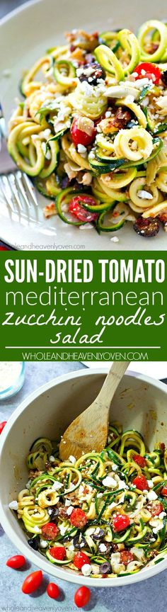 You won't be able to stop eating this flavorful zucchini noodles salad! Loaded with tons of fresh, healthy Mediterranean goodness and an unbelievable sun-dried tomato dressing. | Whole and Heavenly Ov