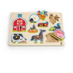 Hape Farm Animals Peg Puzzle | Cow & Lizard toy store