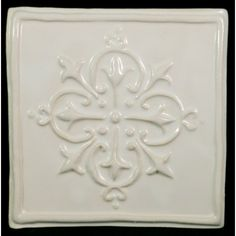 "Decorative Accent Tile Inspiration Folium 525"" X 95"" Ceramic Decorative Accent Tile In White Inspiration"